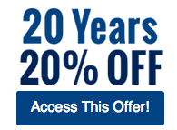 20 Years, 20% Off - Access This Offer!