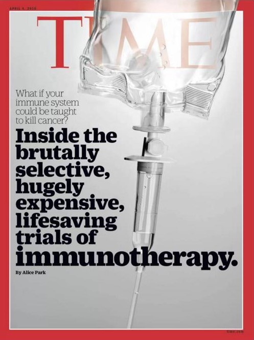 TIME magazine cover showcasing immunotherapy and its potential in treating disease