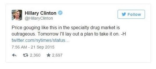 Democratic presidential candidate Hilary Clinton tweeting about reigning in drug prices