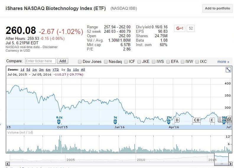 Google Finance graph representing the 52-week performance of iShares Biotechnology Index ETF (NASDAQ:IBB)