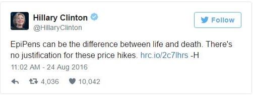 Hillary Clinton EpiPen Tweet