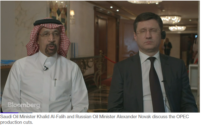 Saudi energy minister Khalid al-Falih and Russian oil minister Alexander Novak Discuss global oil inventory 2018